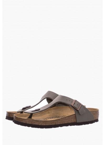 Men Flip Flops & Sandals Gizeh.Bs.M Olive Nubuck Leather Birkenstock