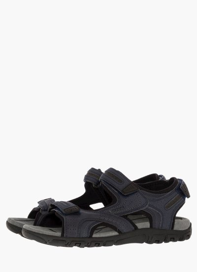 Men Flip Flops & Sandals U8224D DarkBlue Oily Leather Geox