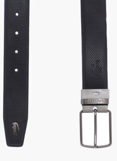 Men Belts RC1620 Black Leather Lacoste