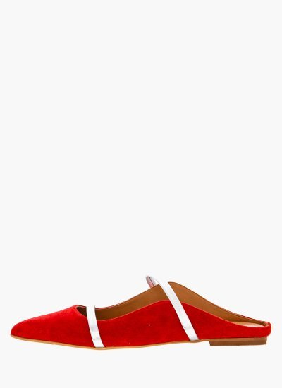 Women Mules 11.6 Red Suede Leather Mortoglou