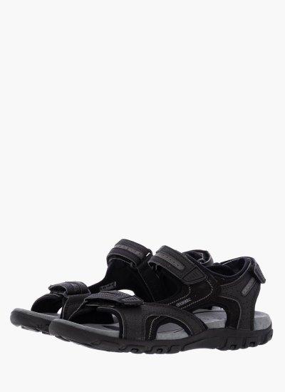 Men Flip Flops & Sandals U8224D Black Oily Leather Geox