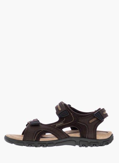 Men Flip Flops & Sandals U8224D Brown Oily Leather Geox