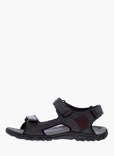 Men Flip Flops & Sandals U9224C DarkGrey Eco-Leather Geox