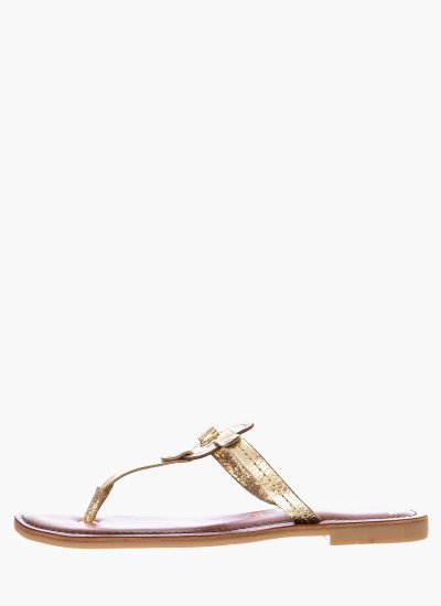 Women Flat Sandals 27123 Gold Leather S.Oliver