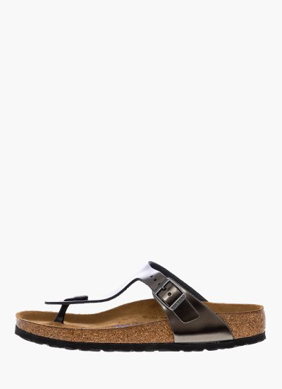 Women Flat Sandals Gizeh.BS Anthracite Leather Birkenstock