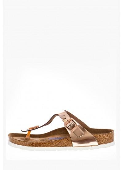 Women Flat Sandals Gizeh.Bs.R Bronze Leather Birkenstock