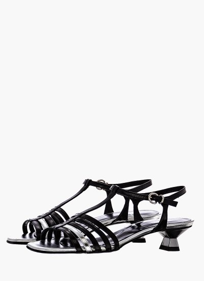 Women Sandals Low 038 Black Leather B