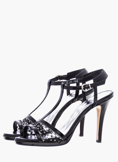 Women Sandal High 108 Black Leather B