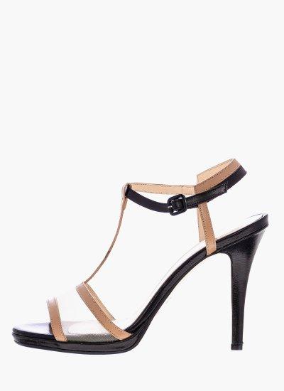 Women Sandal High 108 Beige Leather B