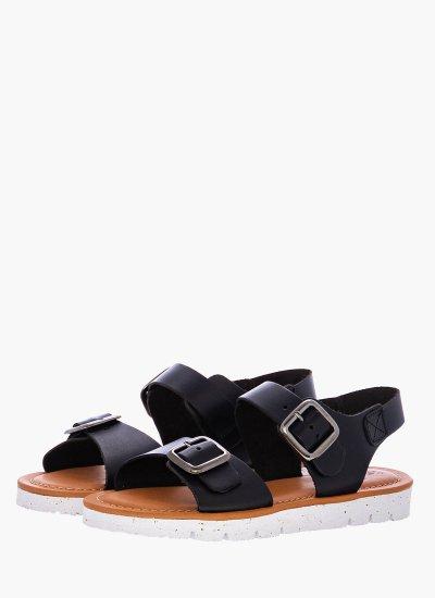 Women Flat Sandals GUA.1901 Black Leather Take me