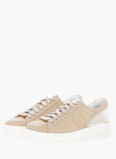 Women Casual Shoes Kim07 Beige Suede Leather LIU JO