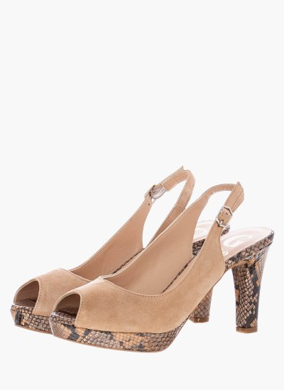 Women Sandal High 15033 Beige Suede Leather Giko