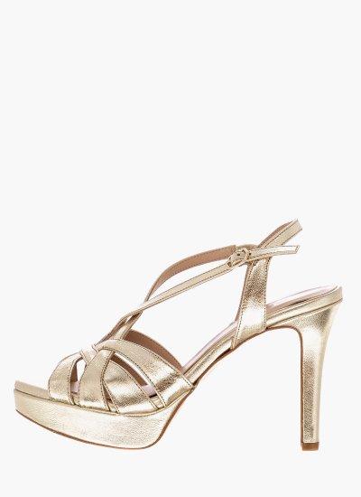 Women Sandal High 17003 Gold Leather Giko