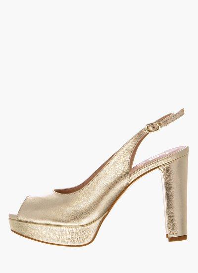 Women Sandal High 17015 Gold Leather Giko