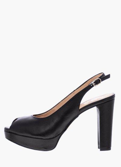 Women Sandal High 17015 Black Leather Giko