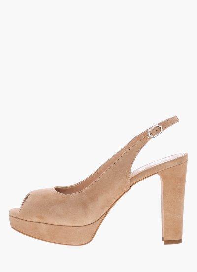 Women Sandal High 17015 Beige Leather Giko
