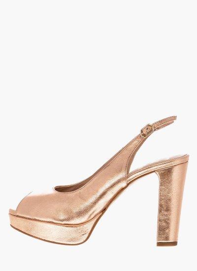 Women Sandal High 17015 Bronze Leather Giko