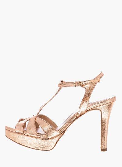 Women Sandal High 17016 Bronze Leather Giko