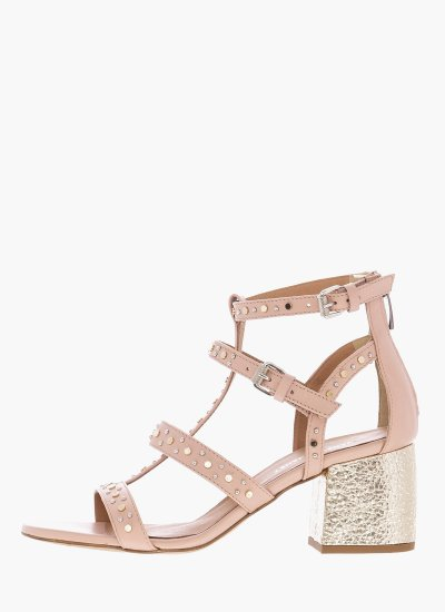 Women Sandals Low 43300 Nude Leather Janet & Janet