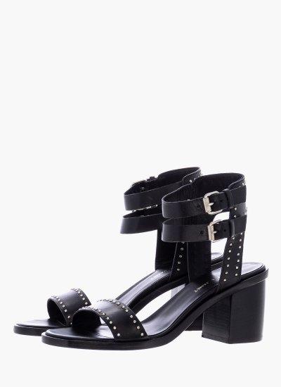 Women Sandals Low 43603 Black Leather Janet & Janet