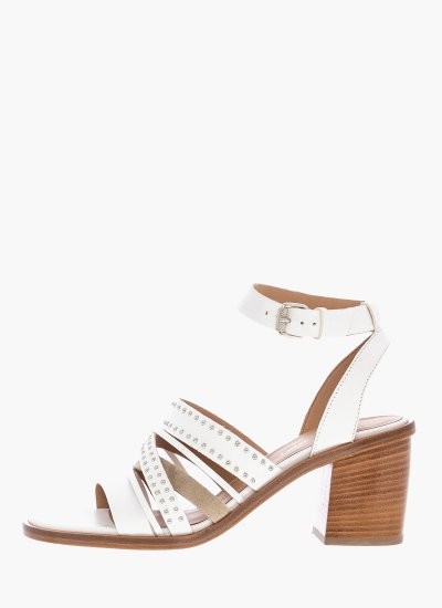 Women Sandals Low 43604 White Leather Janet & Janet