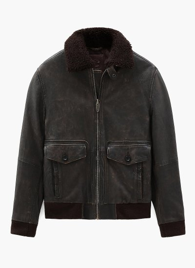Men Jackets A1YT9 Brown Leather Timberland
