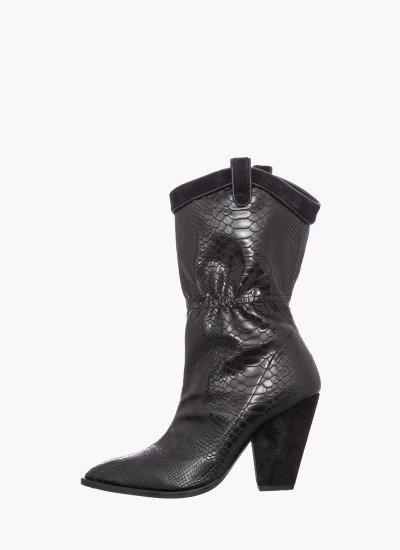 Women Boots Boston Black Leather Rebeca Sanver