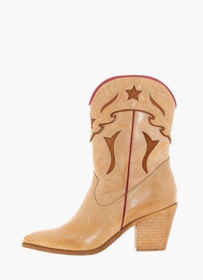 Women Boots 2052.K259 Beige Leather MF