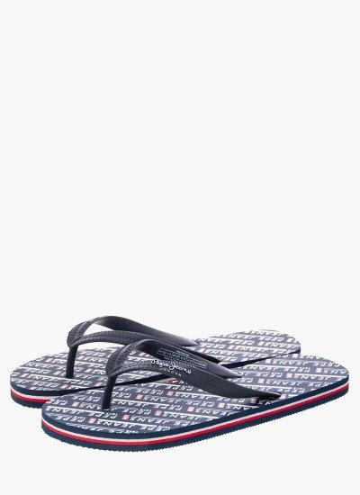 Men Flip Flops & Sandals Swimming Blue Rubber Pepe Jeans