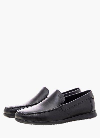Men Moccasins U028UA Black Leather Geox