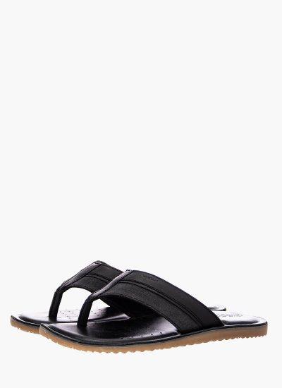 Men Flip Flops & Sandals U02V1A Black Leather Geox