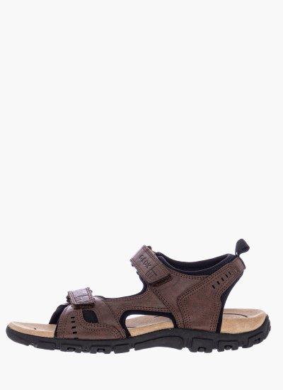 Men Flip Flops & Sandals U4224A Brown Leather Geox