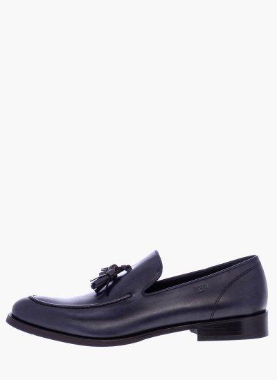 Men Moccasins N6333 Blue Leather Boss shoes