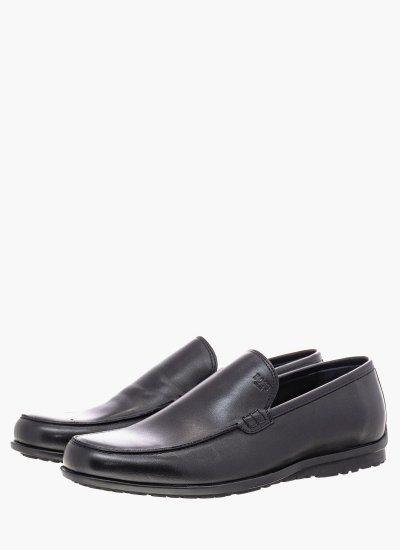 Men Moccasins N6392 Black Leather Boss shoes