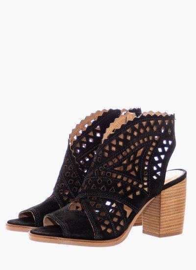 Women Sandals Low 4611 Black Suede Leather Alpe