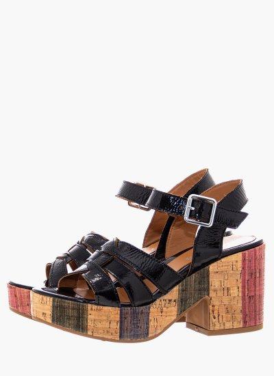 Women Sandal High 4729 Black Shiny Leather Alpe