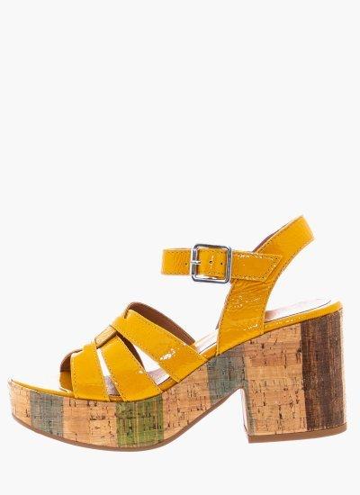 Women Sandal High 4729 Yellow Shiny Leather Alpe