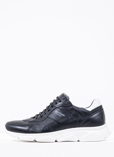 Men Casual Shoes 2400 Black Leather Damiani