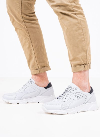 Men Casual Shoes 2400 White Leather Damiani