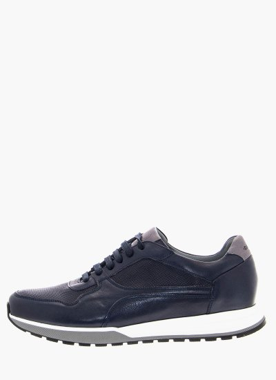 Men Casual Shoes 2500 Blue Leather Damiani