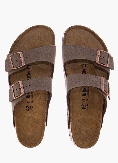 Men Flip Flops & Sandals Arizona.Bs.M Brown Nubuck Leather Birkenstock