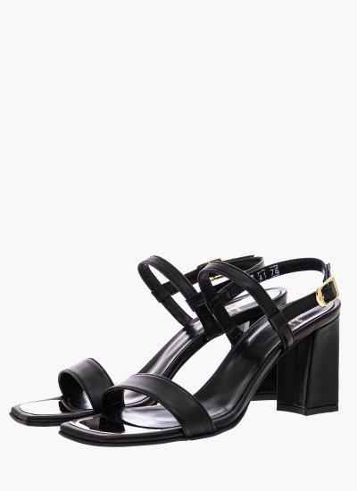 Women Sandal High 76 Black Leather B