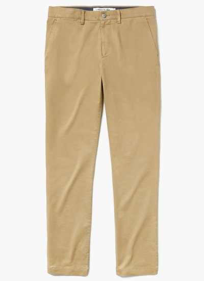 Men Pants Gabardine Beige Cotton Lacoste