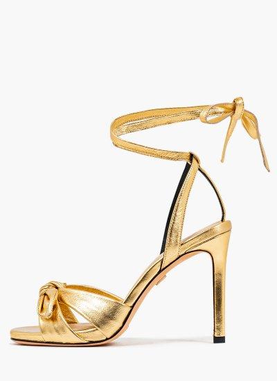 Women Sandal High 206Z10BK Gold Leather Lola Cruz