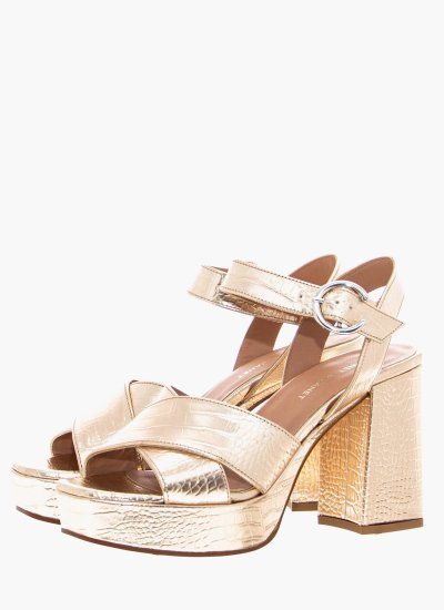 Women Sandal High 45451 Gold Leather Janet & Janet
