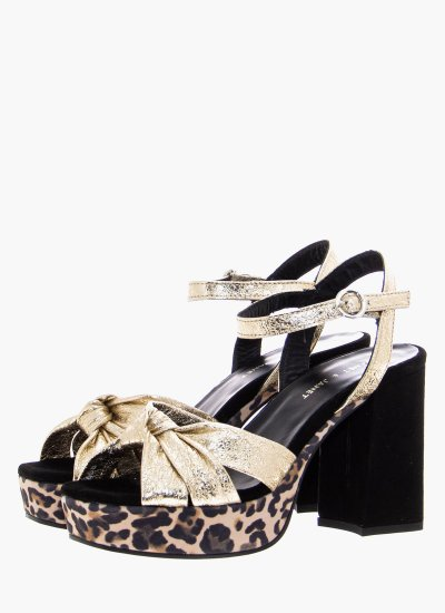 Women Sandal High 45458 Gold Leather Janet & Janet