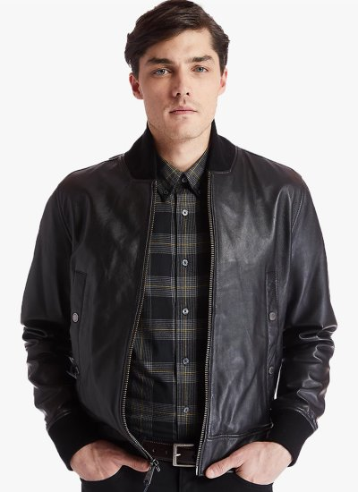 Men Jackets A2BS2 Black Leather Timberland