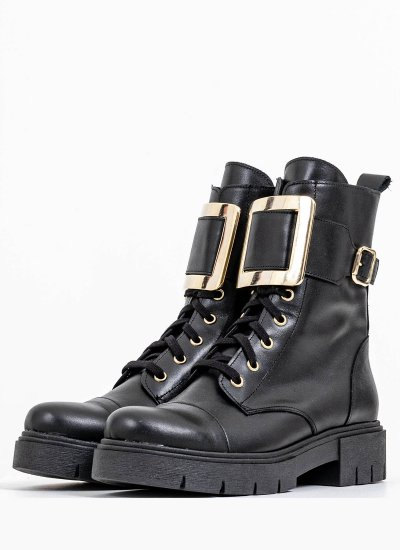 Women Boots 1008.G Black Leather Mortoglou