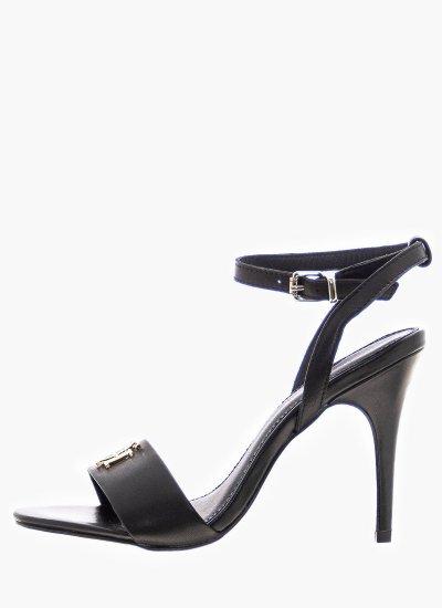 Women Sandal High Hard.High Black Leather Tommy Hilfiger
