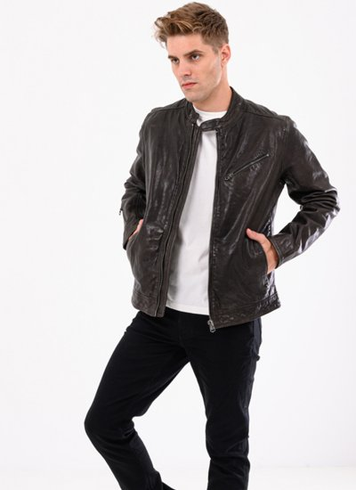 Men Jackets Fosse.Jacket Brown Leather Pepe Jeans